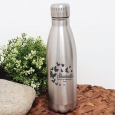 Personalised Engraved Stainless Steel Drink Bottle - Silver (F)
