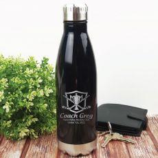 Hockey Coach Engraved Stainless Steel Drink Bottle - Black