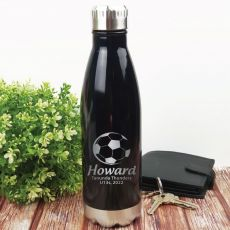 Soccer Coach Engraved Stainless Steel Drink Bottle - Black