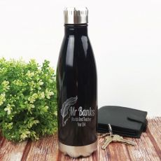 Teacher Engraved Stainless Steel Drink Bottle - Black