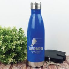 Hockey Coach Engraved Stainless Steel Drink Bottle - Blue