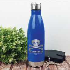 Personalised Engraved Stainless Steel Drink Bottle - Blue (M)