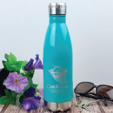 Basketball Coach Engraved Stainless Steel Drink Bottle - Teal