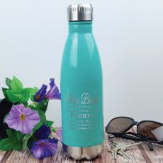 Teacher Engraved Teal Stainless Steel Drink Bottle - Heart