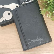 Grandpa Engraved Leather Key & RFID Card Holder