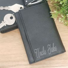 Uncle Engraved Leather Key & RFID Card Holder