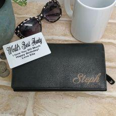 Personalised Black Leather Purse RFID - Aunt