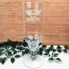 60th Birthday Engraved Personalised Pilsner Glass (M)