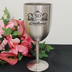 50th Engraved Stainless Steel Wine Glass Goblet (F)