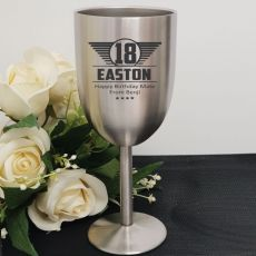 18th Engraved Stainless Steel Wine Glass Goblet (M)