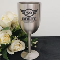 50th Engraved Stainless Steel Wine Glass Goblet (M)