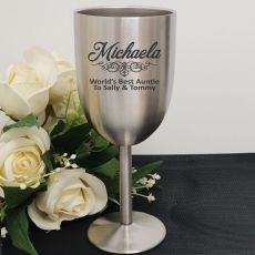 Aunt Engraved Stainless Steel Wine Glass Goblet