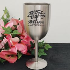 Mum Engraved Stainless Steel Wine Glass Goblet
