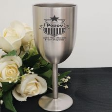 Pop Engraved Stainless Steel Wine Glass Goblet