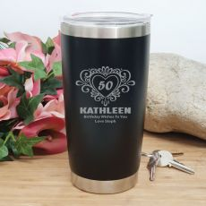 50th Insulated Travel Mug 600ml Black (F)