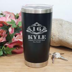 16th Insulated Travel Mug 600ml Black (M)