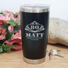 80th Insulated Travel Mug 600ml Black (M)