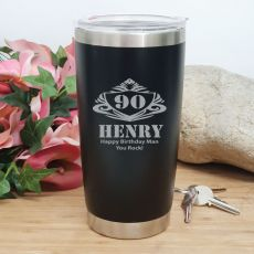 90th Insulated Travel Mug 600ml Black (M)