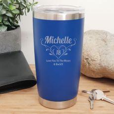 18th Insulated Travel Mug 600ml Dark Blue (F)