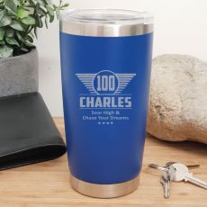 100th Insulated Travel Mug 600ml Dark Blue (M)