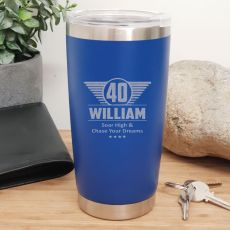 40th Insulated Travel Mug 600ml Dark Blue (M)