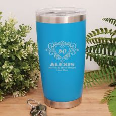 50th Insulated Travel Mug 600ml Light Blue (F)