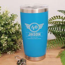 40th Insulated Travel Mug 600ml Light Blue (M)