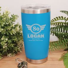 80th Insulated Travel Mug 600ml Light Blue (M)
