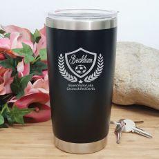 Soccer Coach Engraved Insulated Travel Mug 600ml Black