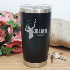Tennis Coach Engraved Insulated Travel Mug 600ml Black
