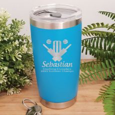 Cricket Coach Insulated Travel Mug 600ml Light Blue