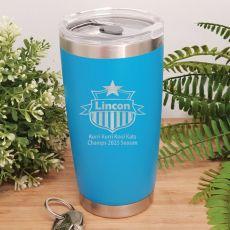 Football Coach Insulated Travel Mug 600ml Light Blue