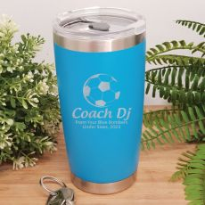 Soccer Coach Engraved Insulated Travel Mug 600ml Light Blue