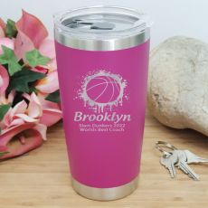 Basketball Coach Insulated Travel Mug 600ml Pink