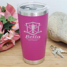 Hockey Coach Engraved Insulated Travel Mug 600ml Pink