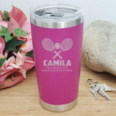 Tennis Coach Engraved Insulated Travel Mug 600ml Pink