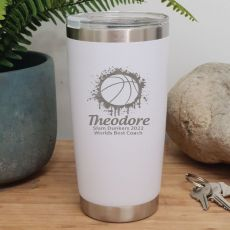 Basketball Coach Insulated Travel Mug 600ml White