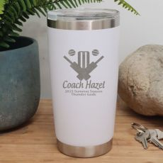Cricket Coach Insulated Travel Mug 600ml White