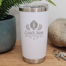 Football Coach Insulated Travel Mug 600ml White