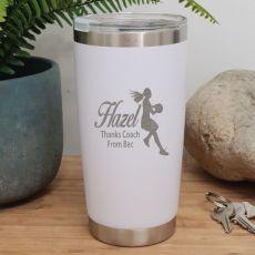 Netball  Coach Engraved Insulated Travel Mug 600ml White