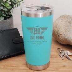 80th Insulated Travel Mug 600ml Teal (M)