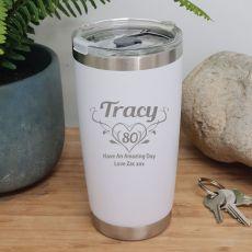 80th Insulated Travel Mug 600ml White (F)