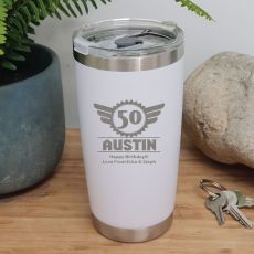 50th Insulated Travel Mug 600ml White (M)