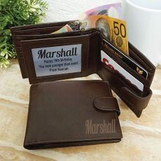 70th Birthday Personalised Brown Leather Wallet RFID