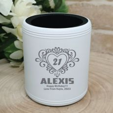 21st Birthday  Engraved White Can Cooler (F)