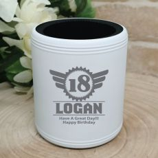18th Birthday  Engraved White Can Cooler (M)