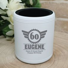 60th Birthday  Engraved White Can Cooler (M)