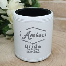 Bride Engraved White Stubby Can Cooler