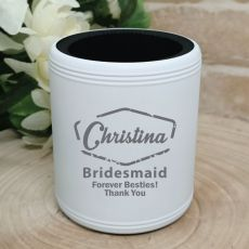 Bridesmaid Engraved White Stubby Can Cooler