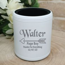 Page Boy Engraved White Stubby Can Cooler
